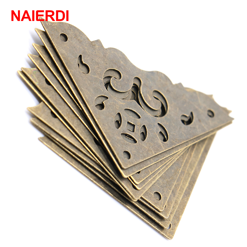 10PCS NAIERDI Jewelry Box Corner Protector Bronze Decorative Corner Bracket Antique Book Frame Accessories Furniture Hardware 10pcs naierdi 30mmx30mm jewelry box book scrapbook album antique frame accessories notebook menus corner decorative protector