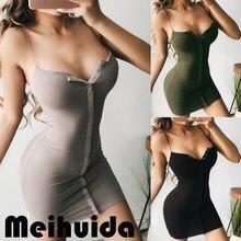Women's Bandage Bodycon Dress Female Skinny Sleeveless Short Mini Dress Button Strap Solid Party Dresses