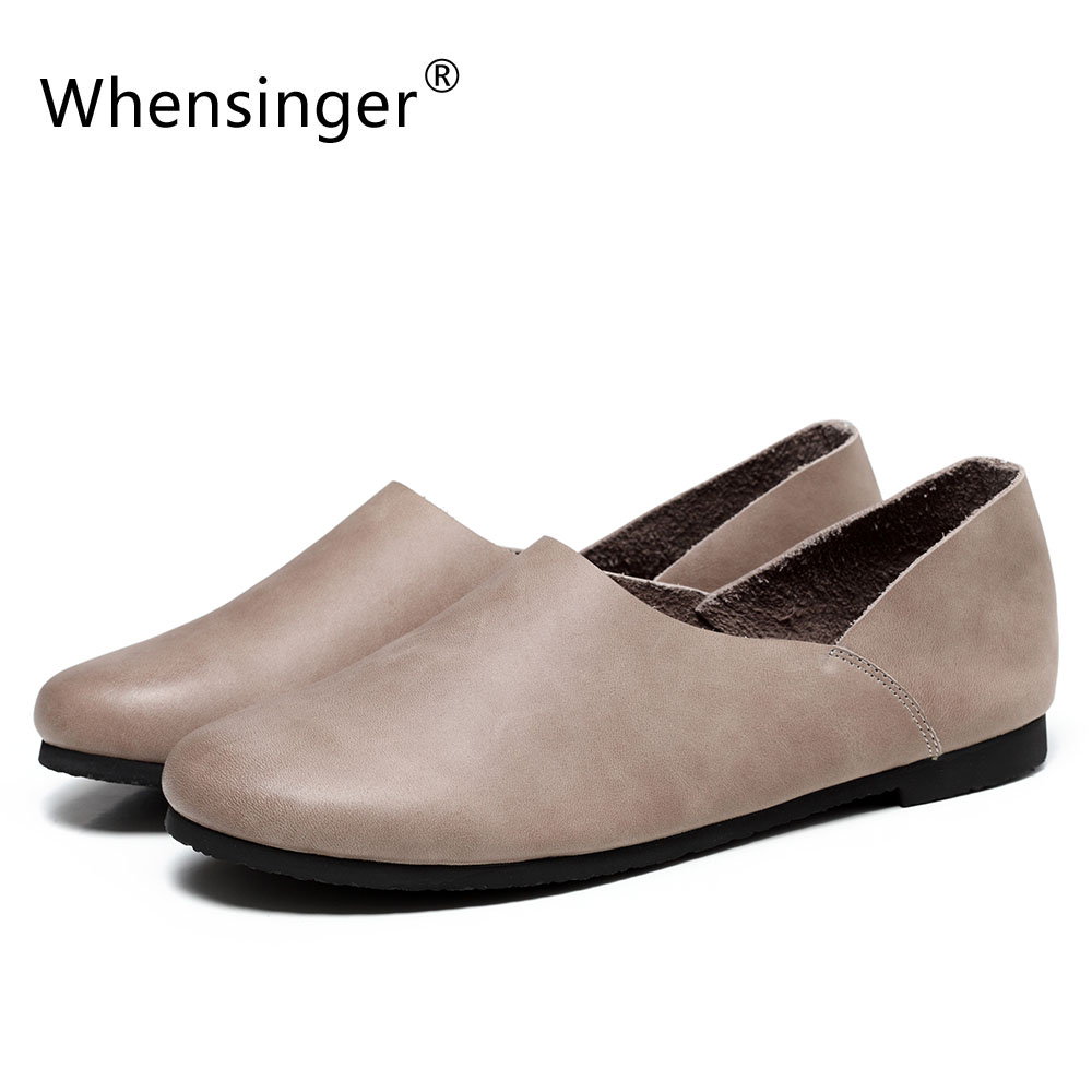 Whensinger - 2017 New Arrival Spring Genuine Leather Flats Woman Fashion Shoes Round Toe 2 Colors Rubber Sole F010 whensinger 2017 new women fashion boots genuine leather fashion shoes rubber sole hands sewing 2 color 7126