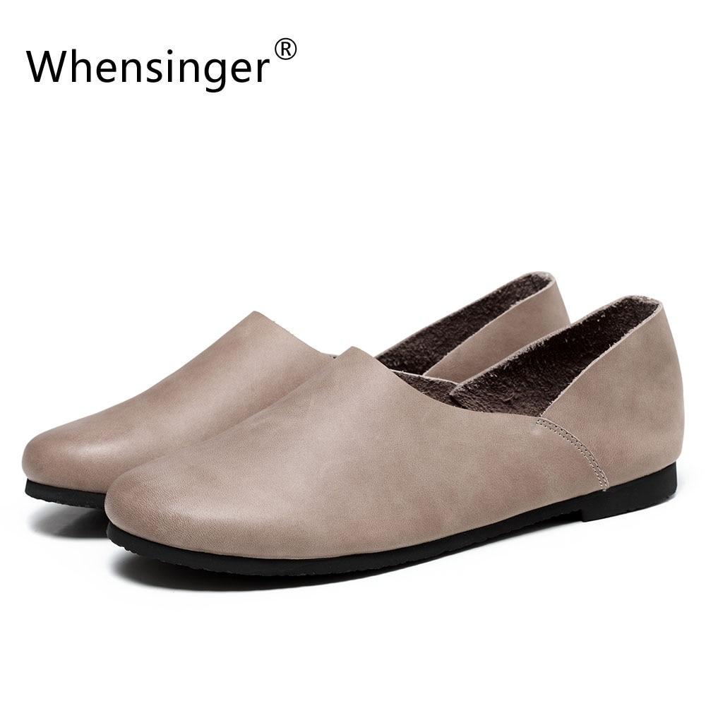 Whensinger-2017 nueva llegada del resorte de cuero genuino pisos zapatos de muje