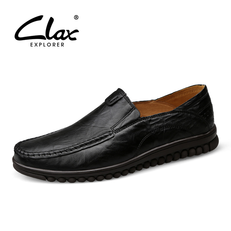 CLAX Men's Dress Leather Shoes Slip on 2017 Summer Autumn Genuine Leather Formal Shoe for Male Black Vintage Retro Footwear Soft clax men shoes luxury brand loafers genuine leather male driving shoes slip on black dress shoe moccasin designer classical