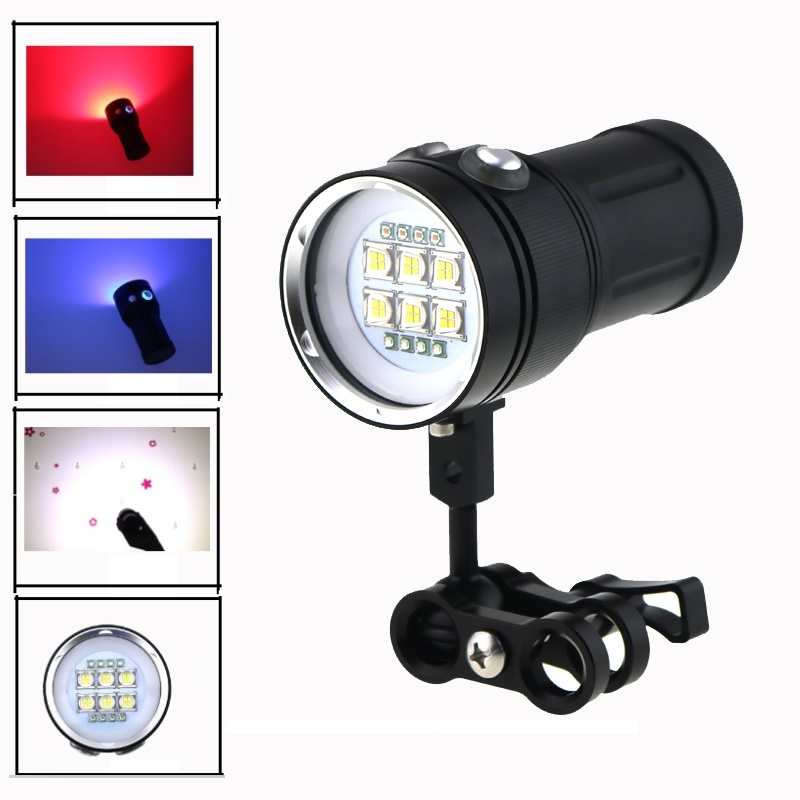 Underwater Photography Video Light 20000LM 6x Cree T90 Led White + 4x Red+ 4x Blue / UV Light Waterproof 18650 Diving Flashlight diving flashlight cree red light torch photography underwater video led flashlight 4x white 2x cree red led scuba photography
