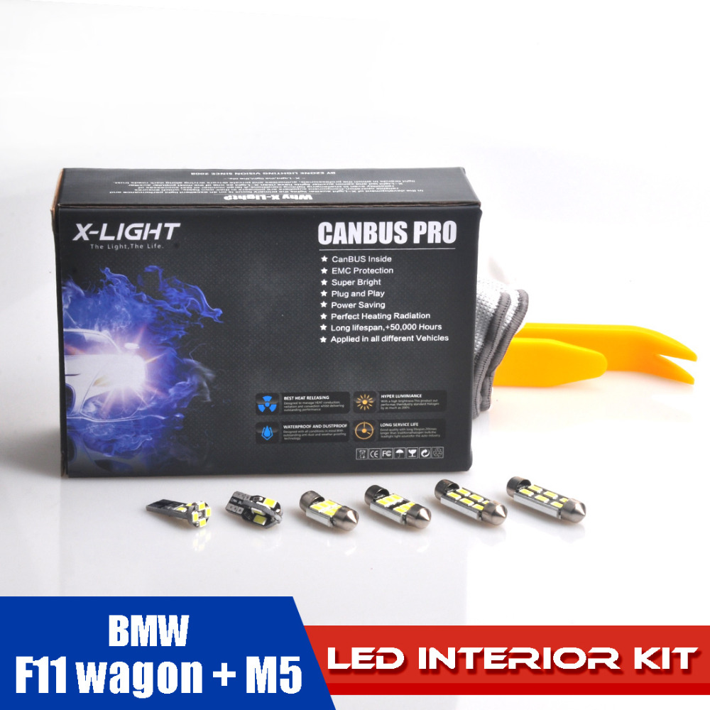 23pcs Error Free Xenon White Premium LED Dome Map Lighit Interior Lighting Full Kit for BMW F11 wagon + M5 with tools EMC PRT xenon white 1 50 36mm 6418 c5w canbus led bulbs error free for audi bmw mercedes porsche vw interior map or dome lights