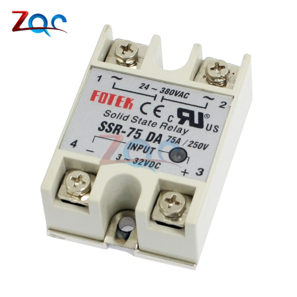 Solid state Relay SSR-60DA SSR-75DA SSR-100DA 60A 75A 100A 3-32V DC TO 24-380V AC SSR 75DA 60DA 100DA relay solid state 100a dc control ac ssr three phase solid state relay