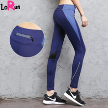 LoRun Sports Yoga Leggings for women Sports Trousers with Pocket Sexy Sportswear Fitness Gym Compression Skinny Running Pants XL