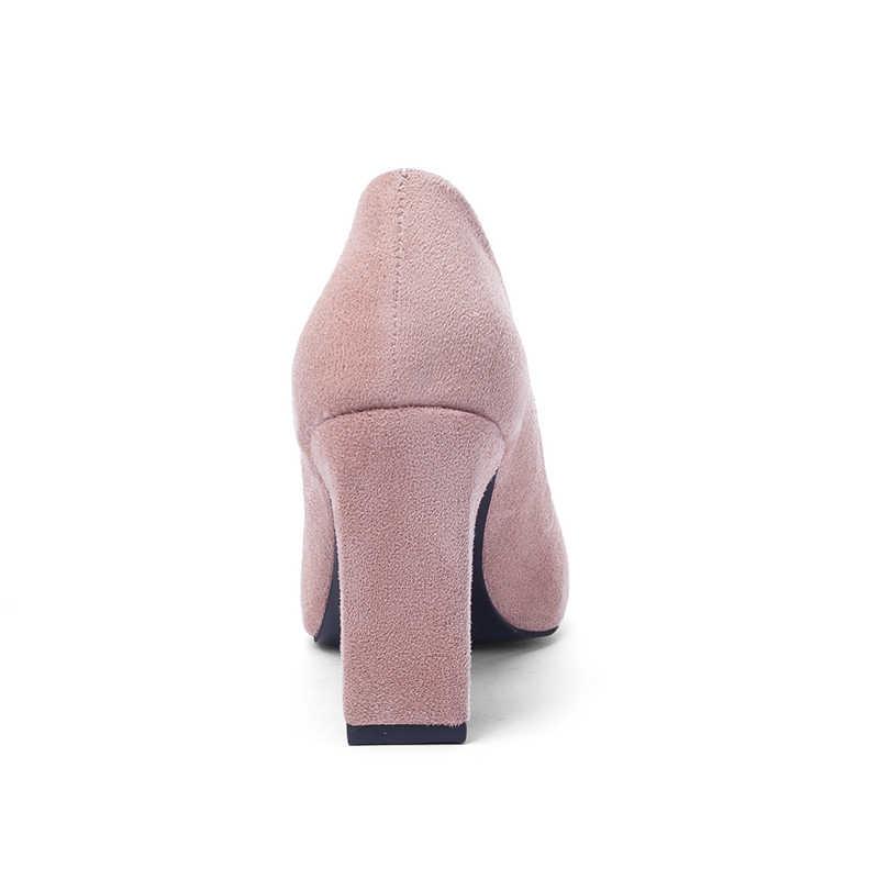 פנינה סקסית גבוהה עקבים נשים רדוד משרד חתונה שמלת נעלי 2019 ילד האביב חדש זמש הבוהן מחודדת אישה משאבות גדול גודל 43
