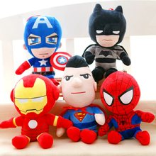25CM Anime Model hero return Spiderman Action Figure Plush Doll Soft toy Iron man Captain America Figurine Stuffed kids Toys set(China)