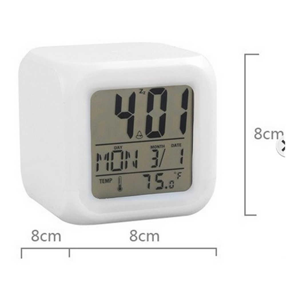 Cube светодиодный Будильник цифровые настольные часы 7 цветов Изменение Night Light сверкающий в темноте ЖК-часы термометр Home Decor подарок