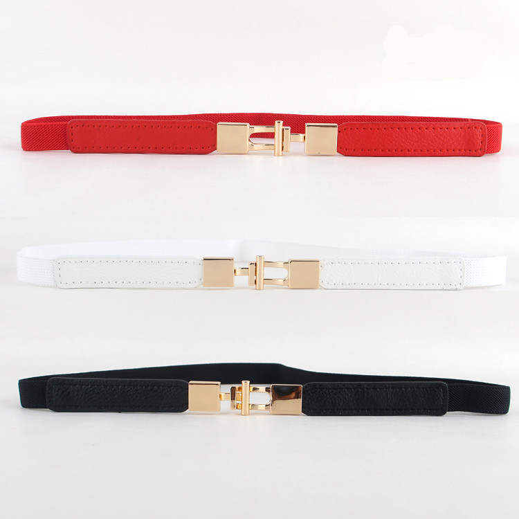 Red Thin Waistbands Women's Elastic Waistband Black Fashion Dress Decorate Belt White Small Cummerbunds Cute Design Girl Gifts
