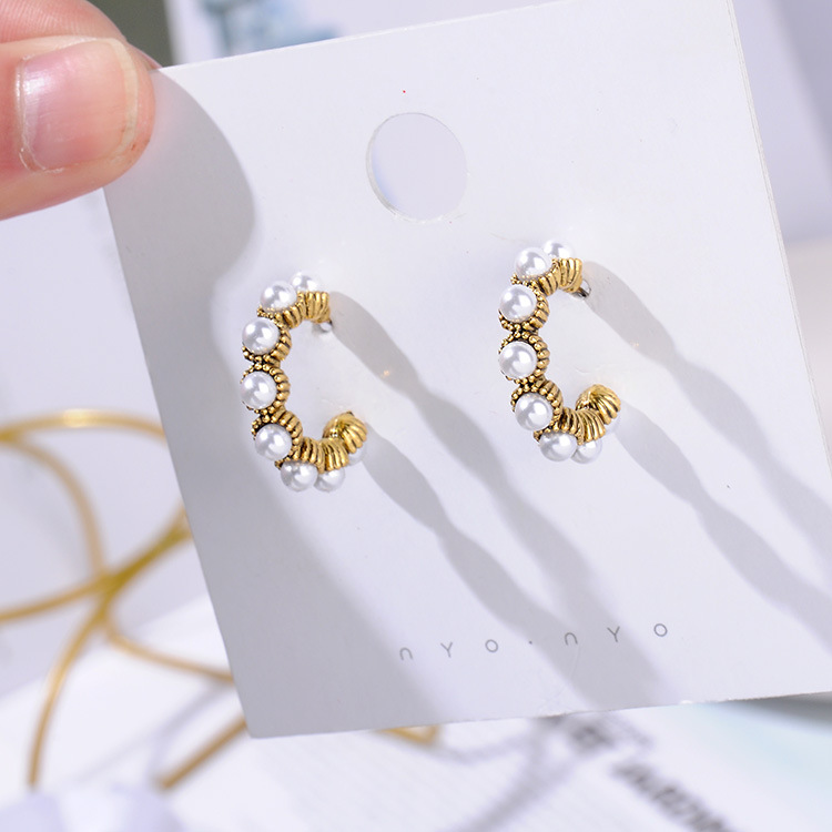 HTB1ifKOapzsK1Rjy1Xbq6xOaFXaq - MENGJIQIAO 2019 New Hot Sale Vintage Colorful Rhinestone Small Hoop Earrings Women Fashion Simulated Pearl Semicircle Pendientes