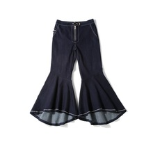 2017 New Spring Mid Waist Jeans Vintage Big Flare Pants Women Wide Leg Long Denim Trousers Slim Bell Bottom Jeans Deep Blue