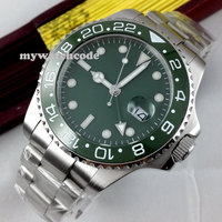 43mm Parnis Green Olive Dial GMT Ceramic Bezel Sapphire Automatic Mens Watch 295
