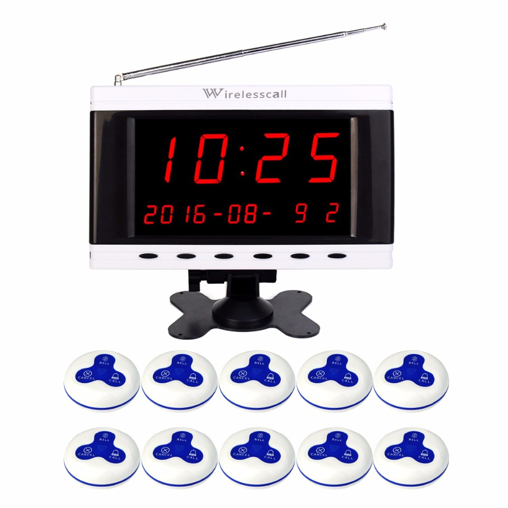 Wireless 433MHz Waiter Service Queuing Call System Receiver Host Voice Broadcast Calendar Display+10pcs Call Transmitter Button wireless bell button for table service and pager display receiver showing call number for simple queue wireless call system