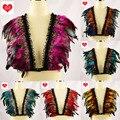 Multicolor Sexy sujetador de encaje y plumas wings womans jaula elástica arnés rave sujetador superior festival boho de la pluma chaleco arnés de cuerpo cinturón