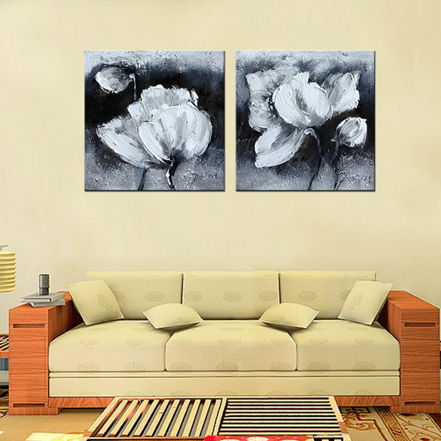 2 Pcs Hot Sell Black and White Flowers Canvas Paintings Modern ...