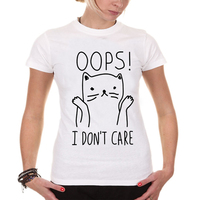 I Don T Car Cat Print T Shirt Women Lovely Style Hot Sale Harajuku Tops Tees