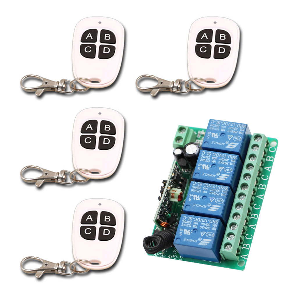 New Learning Code DC12V 4CH 4pcs White 4 keys Waterproof Transmitter with Receiver RF Wireless Remote Control Switch 315/433MHz chunghop rm l7 multifunctional learning remote control silver