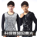 Sequin men cultivating long-sleeved T-shirt male nightclub singer DS costumes stage clothes fashion show clothing