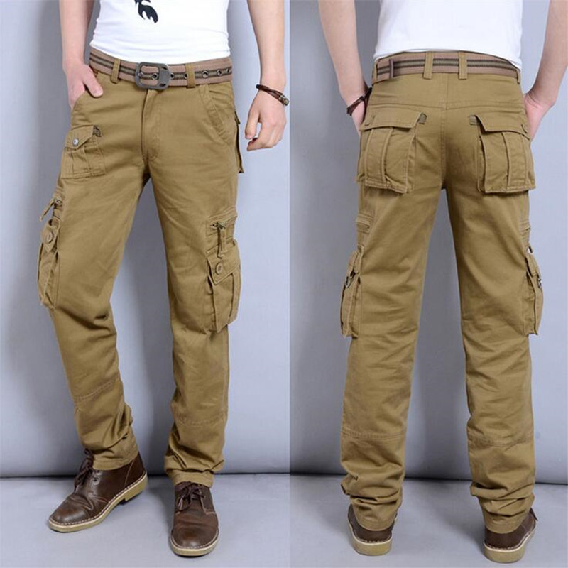 New 2016 Mens Cargo Pants Casual Men Pant Multi Pocket Military Overall Men Outdoors High Quality Long Trousers 28-40 Plus size
