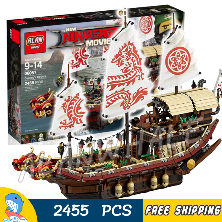 2445pcs New Edition Ninja Destiny's Bounty Dragon Boat 06057 Model Building Blocks Children Toys Bricks Compatible With lego ninja 300 special edition