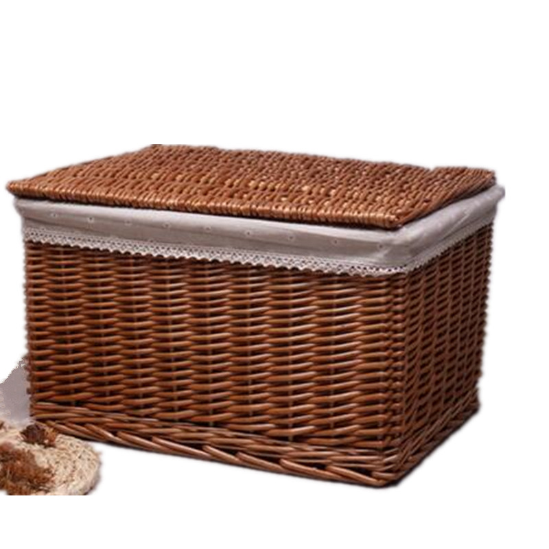 Willow Wicker Storage Basket With Liner For Home: Rattan Willow Set Storage Basket Lid Large Storage Box