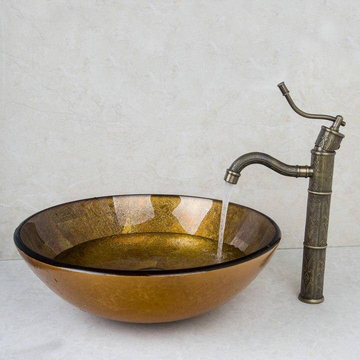 Bathroom Sink Wash Basin Tempered Glass Hand-Painted Lavatory Bath ...