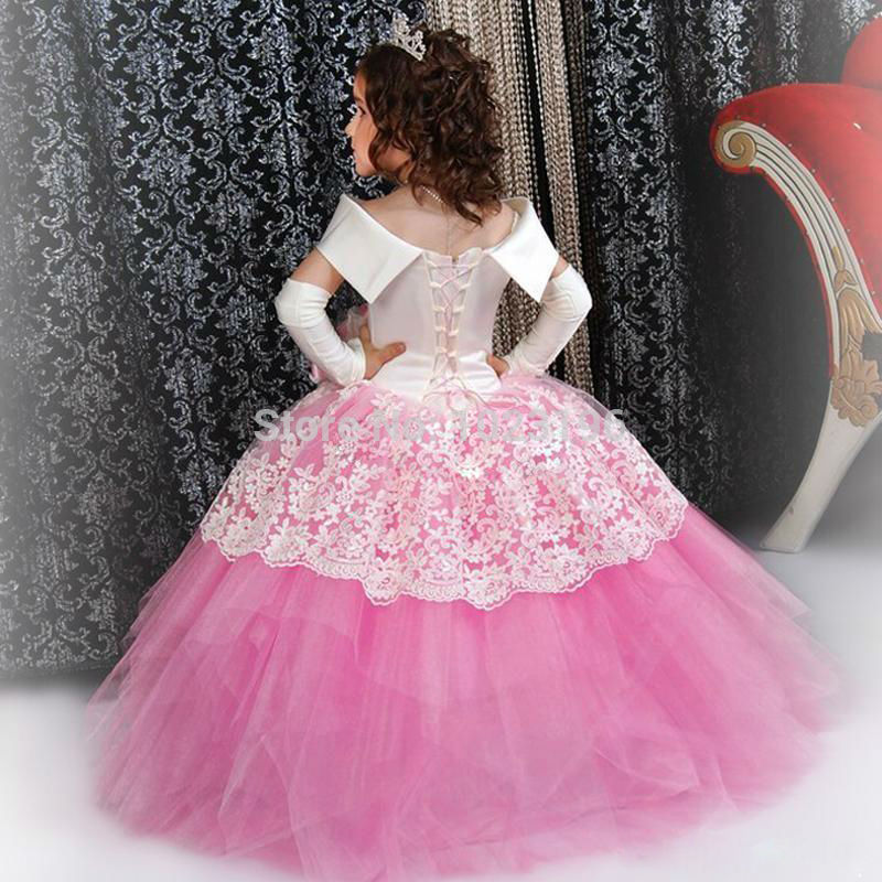Gorgeous Custom White Satin Pink Puffy Toddler Ball Gown Girls ...