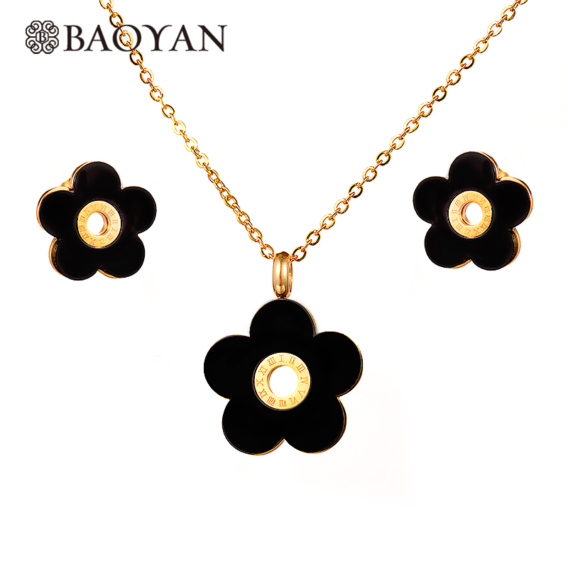 Baoyan 316L Stainless Steel Black Flower Pendant Necklace Earring Jewelry Sets Fashion Jewellery for Women