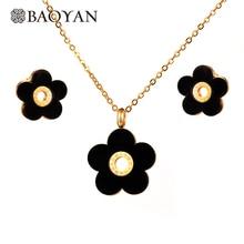 Baoyan 316L Stainless Steel Black Flower Pendant Necklace Earring Jewelry Sets Fashion Jew