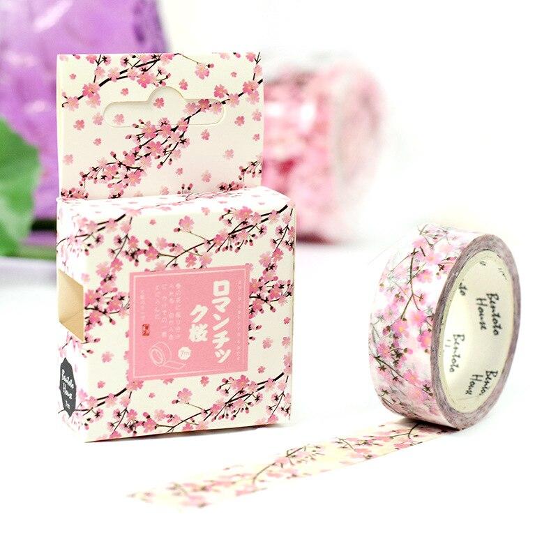 Ja319 romantic season of cherry decorative washi tape diy scrapbooking masking tape school office supply escolar