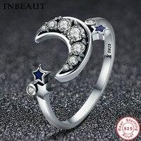 INBEAUT 100 Real 925 Sterling Silver Fairy Tale Clear CZ Star Moon Zircon Ring For Women