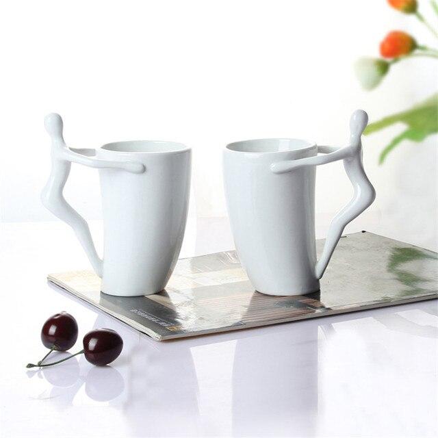 Doll Handle White Ceramic Cartoon Mugs Unique Shape Milk Mug Jarra Tazas Boccale Coffee Canecas