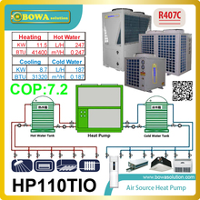 3 in 1 heat pump integrates heat pump water chiller and water heater functions and take