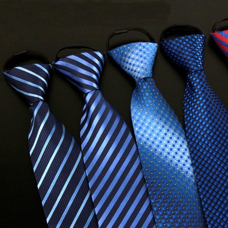 2020 Adult Men Zipper Jacquard Striped Plaid Work Team Group Lazy Neckties Formal Wedding Business Party Arrow Skinny Neck Ties