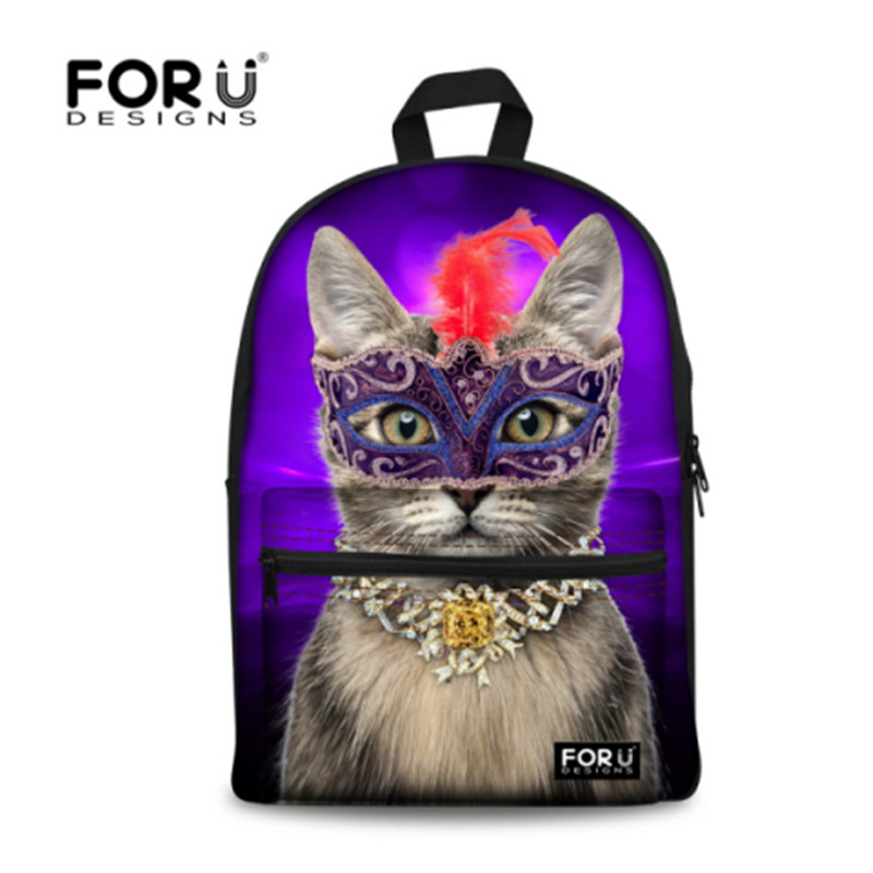 FORUDESIGNS Unique Cute Cat Printing Backpack Women Backpack Large Capacity Shoulder School Backpack Rucksack Mochila Feminina