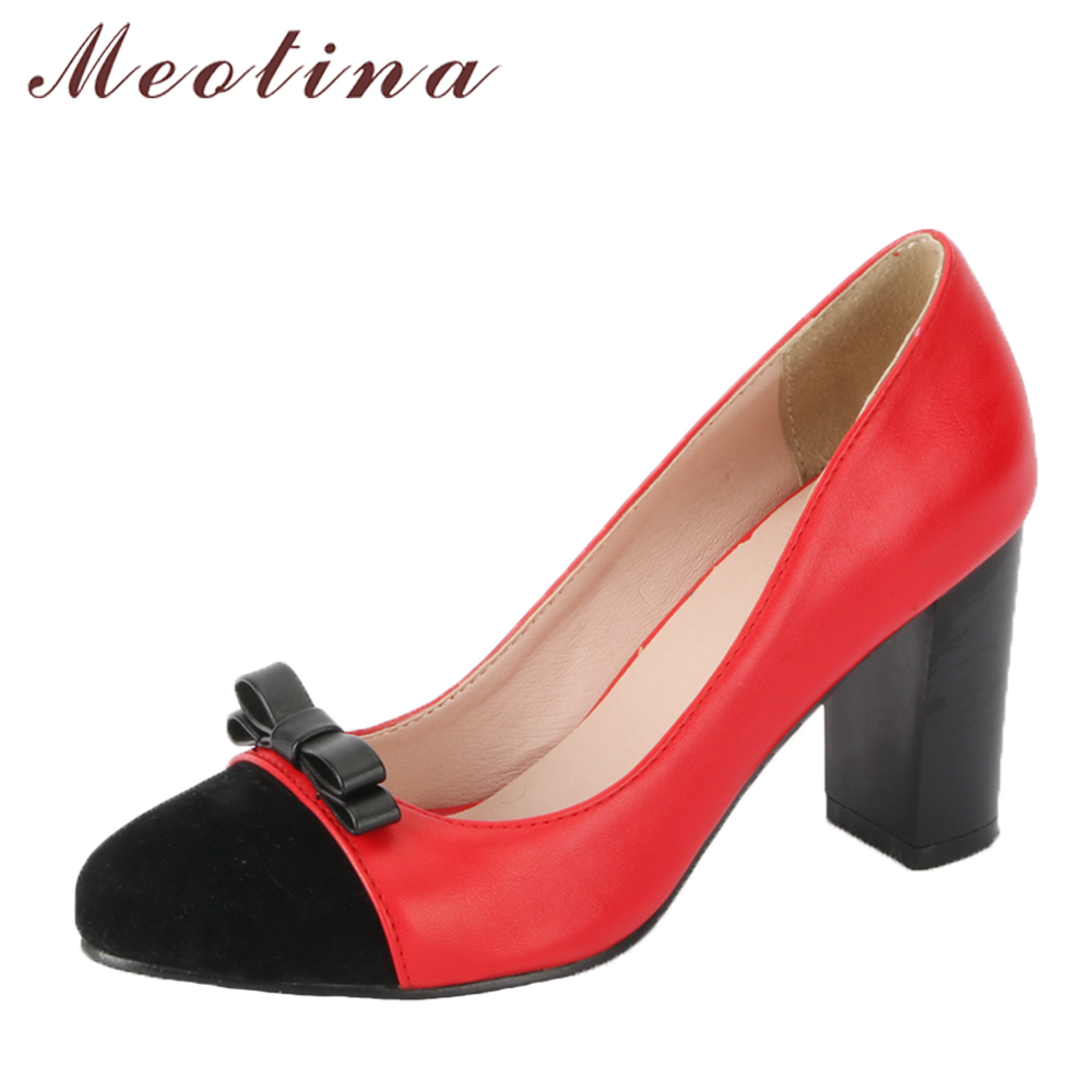 Meotina Women Pumps High Heels Party Shoes Slip On Thick Heels Ladies Pumps Bow Shallow 2018 Spring Shoes Red Large Size 34-39