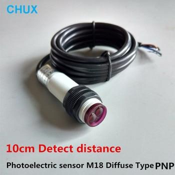 Interruptor fotoeléctrico de tipo difuso PNP NO/NC/NO + NC M18 10cm, Sensor de detección de distancia, carcasa de plástico E3F DC, Sensor infrarrojo