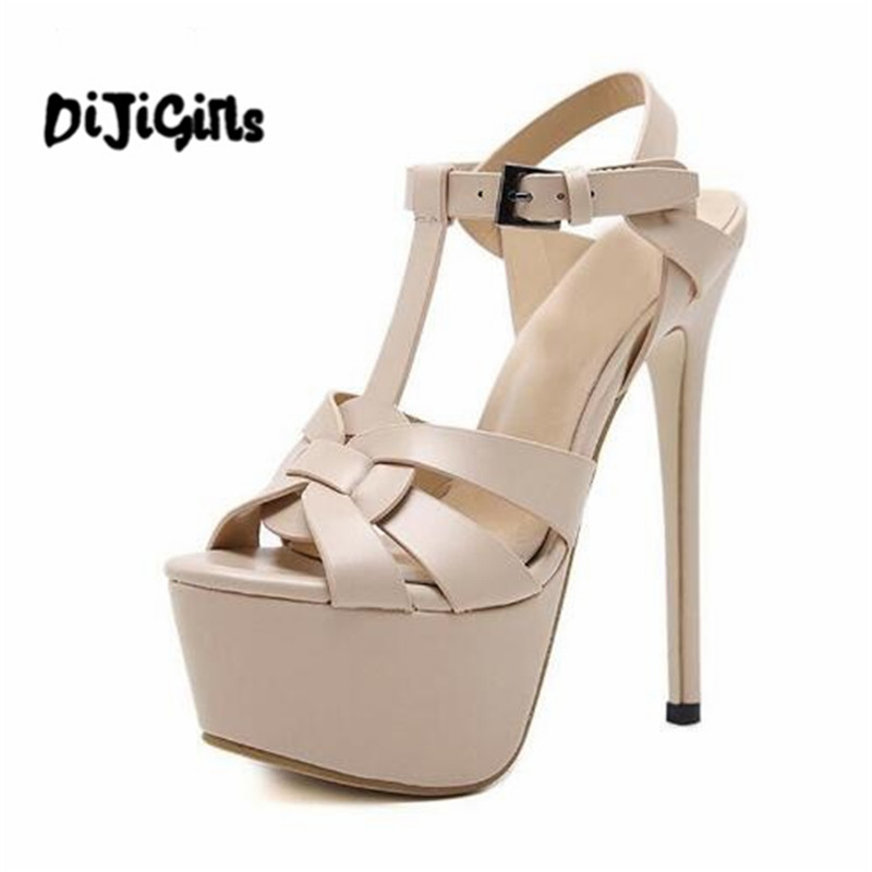 Stiletto Sandals 17CM Platform High Heel Sandals Fashion Open Toe Gladiator Sandal Summer Platform Sexy Pole Dance Shoes rhinestone silver women sandals low heel summer shoes casual platform shiny gladiator sandal fashion casual sapato femimino hot