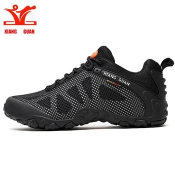 XIANGGUAN man hiking shoe for women outdoor sneakers skid resistant trekking climb mountaineer hunting breathable black grey