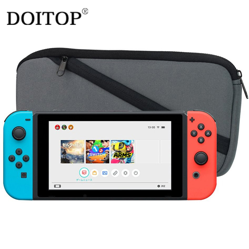 DOITOP Protective Case For Nintend Switch Host Soft Rubber Zipper Carrying Storage Bag Case Bolsa For Nintend Switch Travel Bag