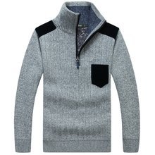 Warm men sweater pocket stand collar half-zipper loose large size pullover thick knitting tops camisola gola alta homem MZ1307