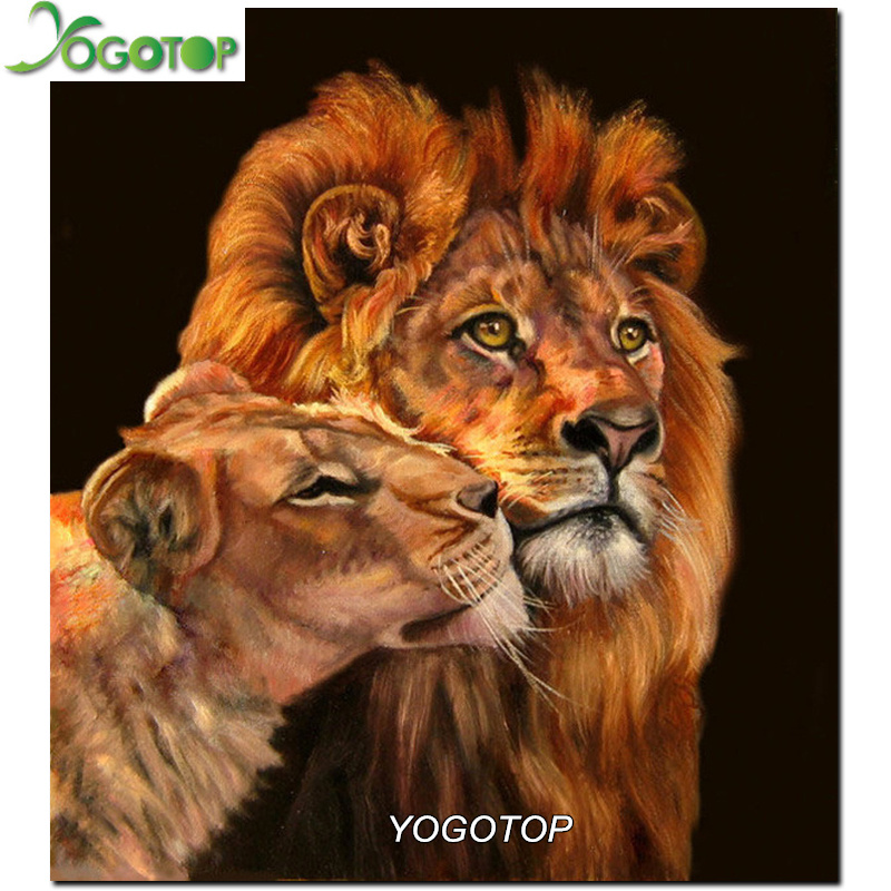 DIY Diamond Painting Cross Stitch Two lions Full Diamond Embroidery Round Diamond Mosaic Pictures Needlework XC361