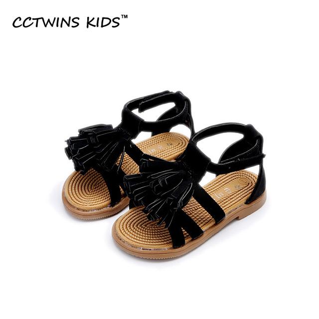CCTWINS CRIANÇAS 2017 Verão Borla Oco Sandália De Couro Criança Pu Crianças Baby Girl Marca de Moda Franja Planas Sapato Branco B684