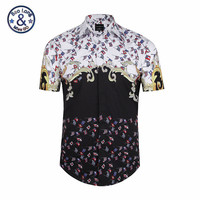 Summer Floral Printed Men Shirt Royal Court Style Stripe Men S Shirts Streetwear Horse With Wings
