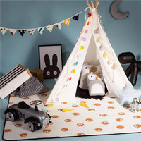 2017 INS Hot Outdoor lightweight Kids Camping Tent Solid Color Teepee Children Play Tent Cotton Canvas Tipi For Baby Room Decor