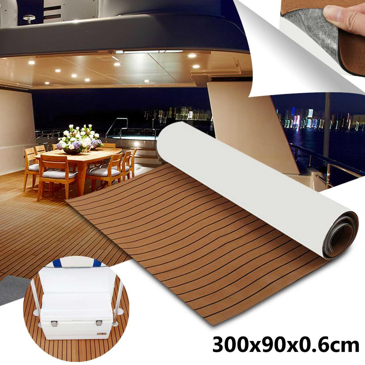 1 rouleau 3000x900mm 6mm Auto-Adhésif EVA Mousse Bateau Yacht RV Caravane Marine Plancher Faux teck Bateau Platelage Feuille Décoration De Sol Tapis