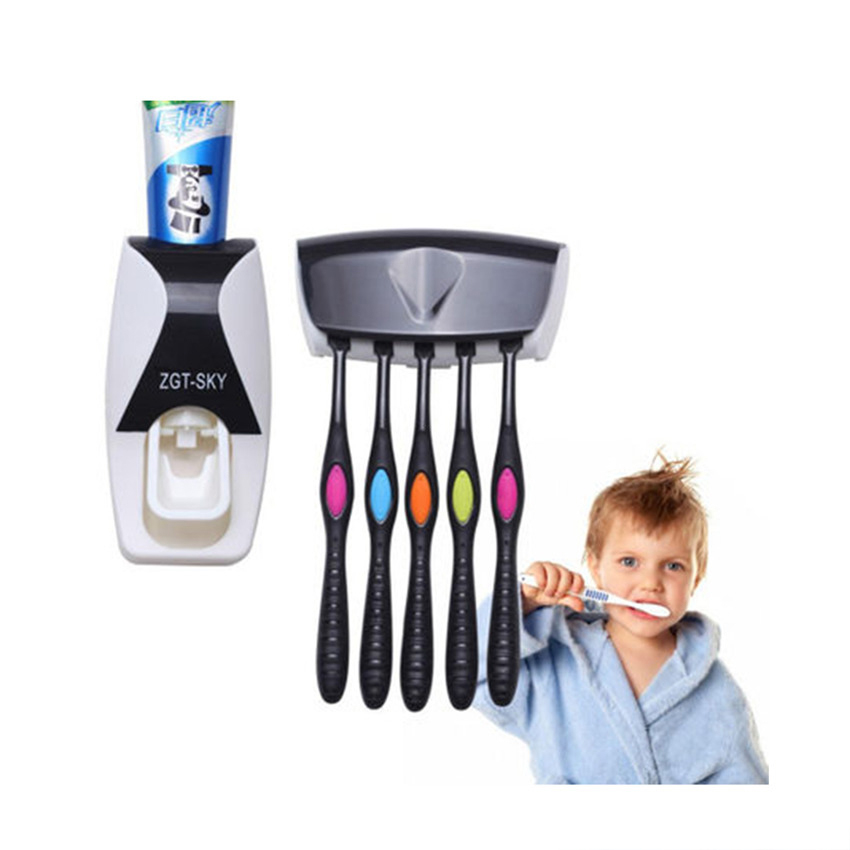 GFHGSD 1set Fashion Home Bathroom Automatic Toothpaste Dispenser Family 5 Position Toothbrush Holder Wall Toothbrush Holder Tool