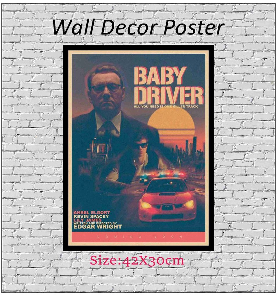 Baby Driver 2017 Fan Art Kraft Paper Wall Posters Stickers Home Decor 42X30cm in Wall Stickers from Home Garden