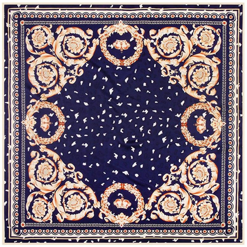 New 100% Twill Silk Kerchief Style Ethnic Square Scarf Women Luxury Floral Pattern Petal Leaf Print Compass Foulard Scarf