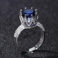 Drop Shipping Original Brand New Luxury Jewelry 925 Sterling Silver Round Cut Big Blue CZ Zirconia